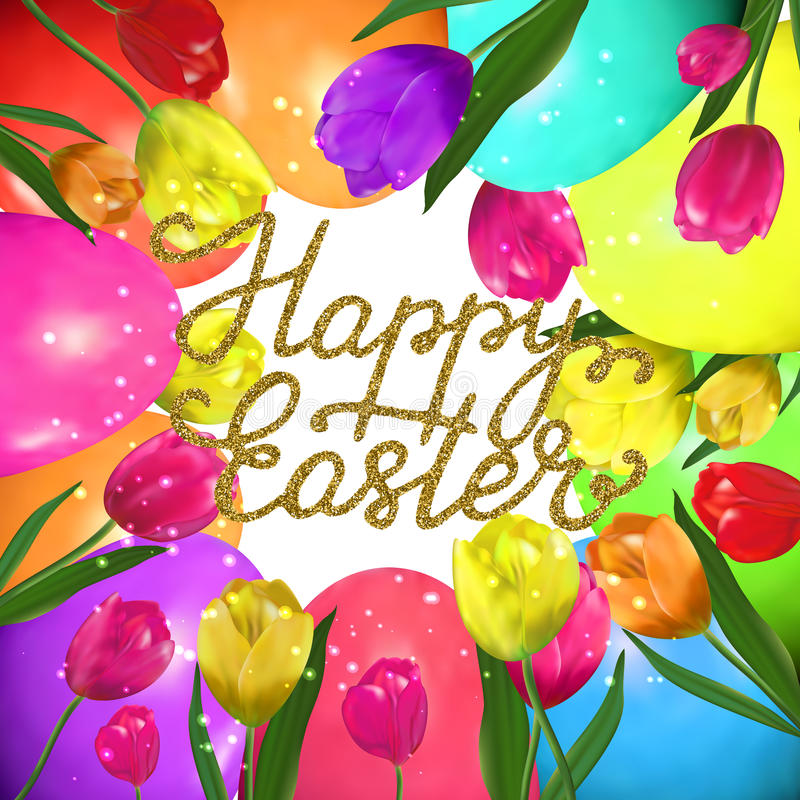 Happy Easter - hand written lettering with gold glitter texture, egg hunt poster template. Vector illustration for greeting card, promotion, poster, flyer stock illustration