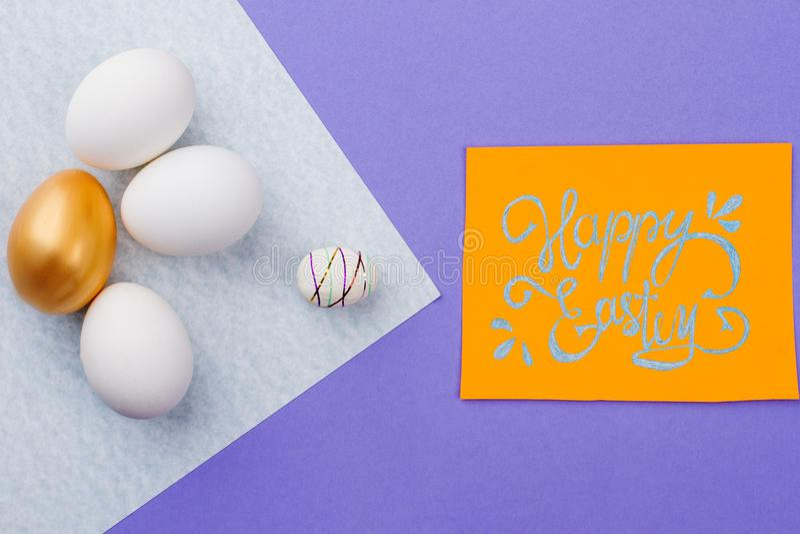 Happy Easter handwritten paper card. stock photos
