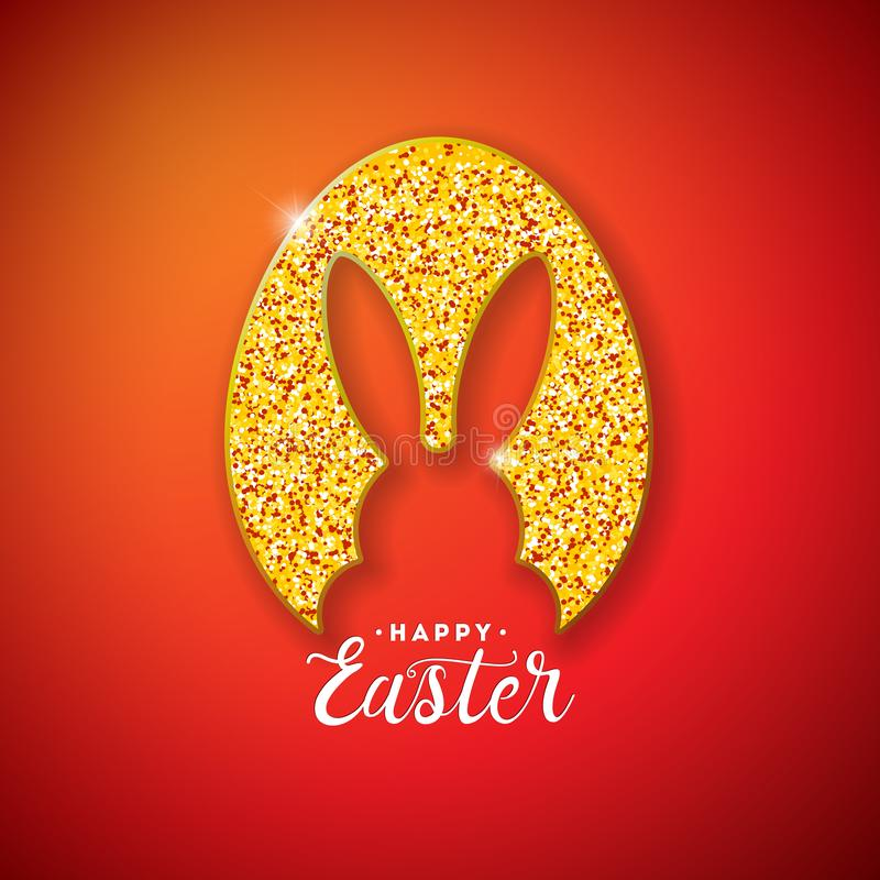Happy Easter Holiday Design with Rabbit Silhouette in Glittered Egg and Typography Lettering on Red Background. Vector royalty free illustration