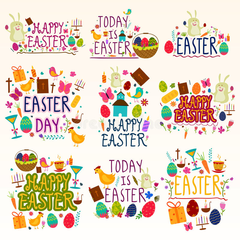 Happy Easter Holiday and Festival wishing and greetings stock illustration