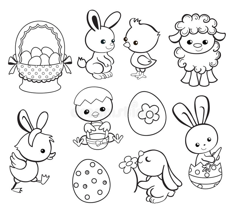 Download Happy Easter Holiday Illustration With Cute Chicken Bunny Duck Lamb Stock