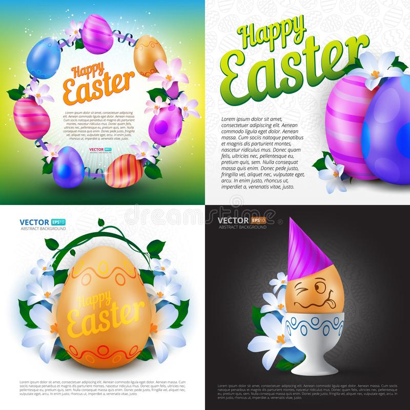 Happy Easter holidays vector set of greeting cards, posters or banners with colour painted eggs and spring flowers vector illustration