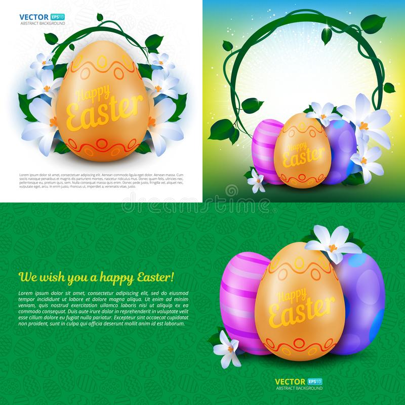 Happy Easter holidays vector set of greeting cards, posters or banners with colour painted eggs and spring flowers royalty free illustration