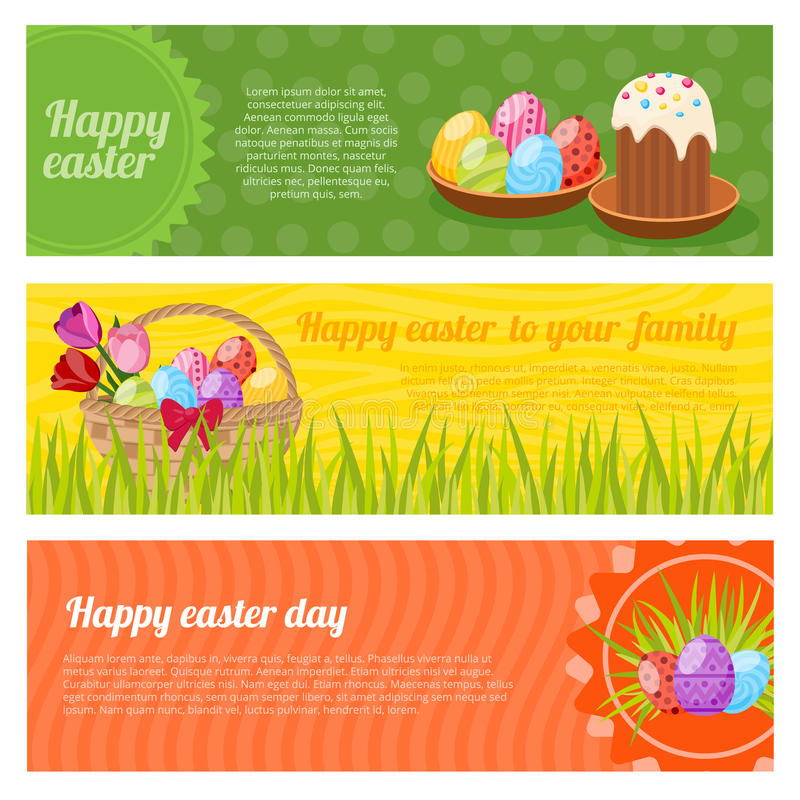 Happy Easter Horizontal Banners Set royalty free illustration
