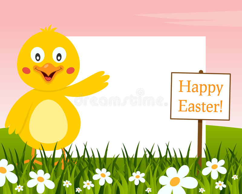 Happy Easter Horizontal Frame - Chick stock image