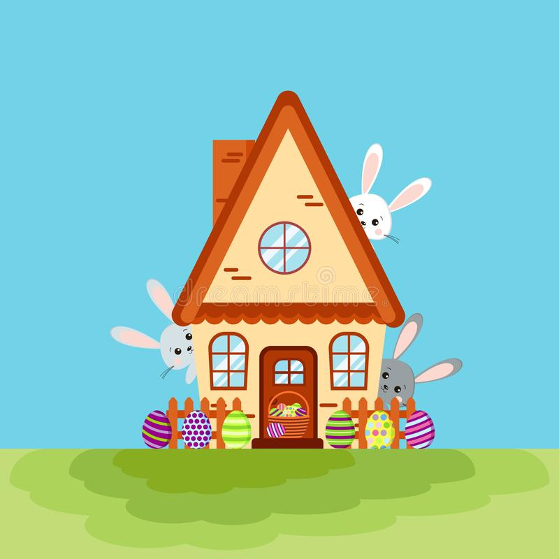 Happy easter house card with three bunnies peeking out of the house stock illustration