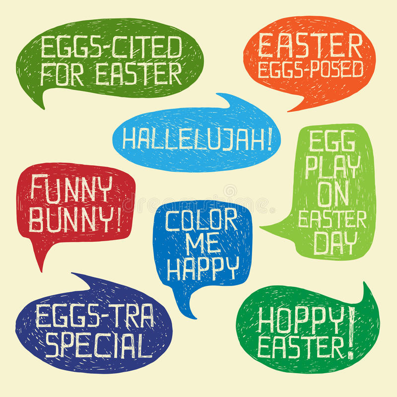 HAPPY EASTER humorous phrases on bubble speeches royalty free stock images