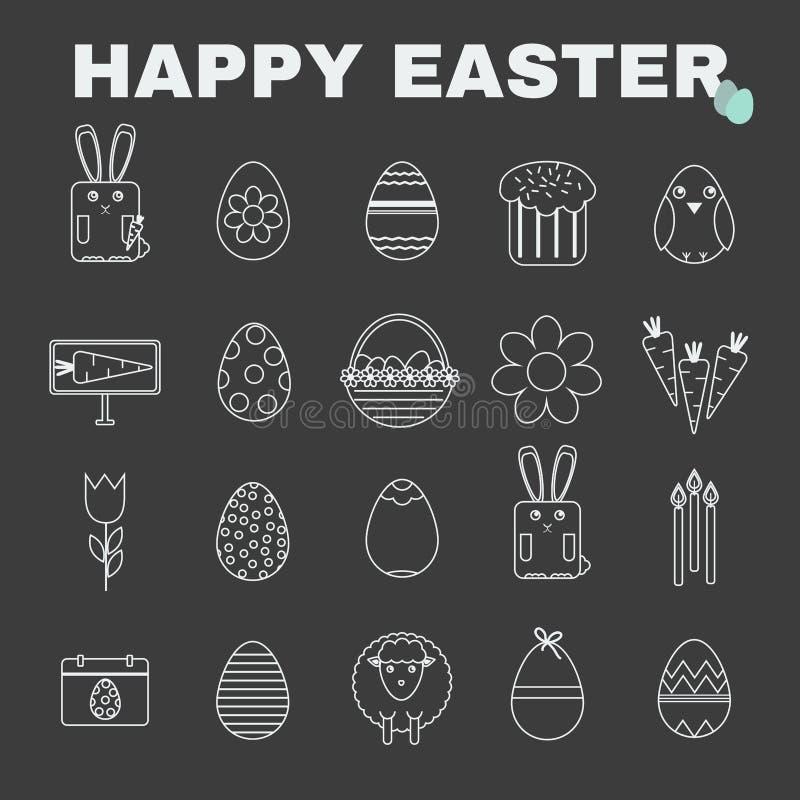 Happy Easter icon set stock illustration
