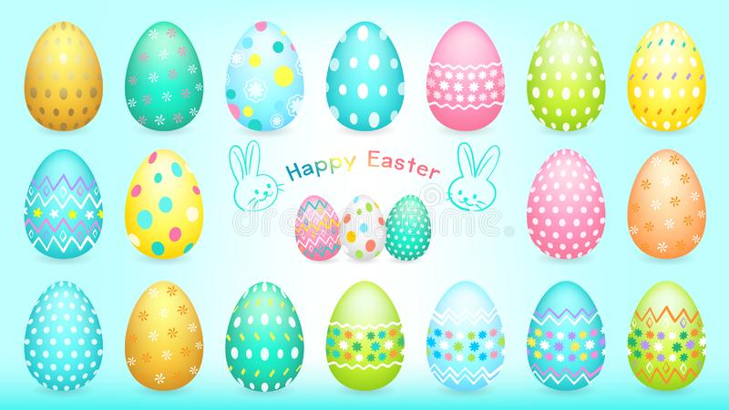 Happy Easter illustration banner with Easter eggs collection and different colorful painting royalty free illustration
