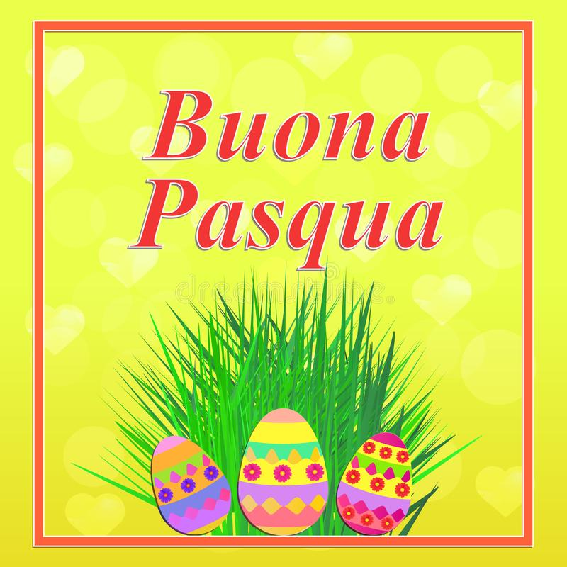 Happy easter illustration stock illustration illustration of bright background buona pasqua in italian language colorful happy easter greeting card easter illustration with calligraphic greeting m4hsunfo