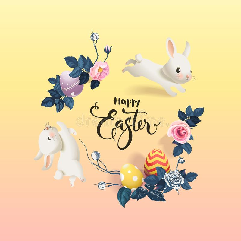 Happy Easter inscription surrounded by decorated eggs, cute white bunnies and beautiful half colored rose flowers vector illustration