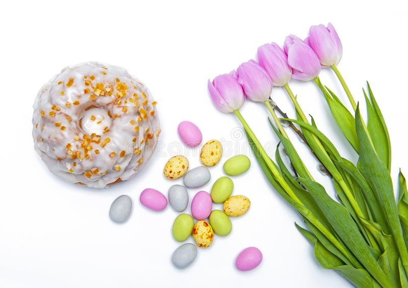 Happy Easter isolated on white royalty free stock images