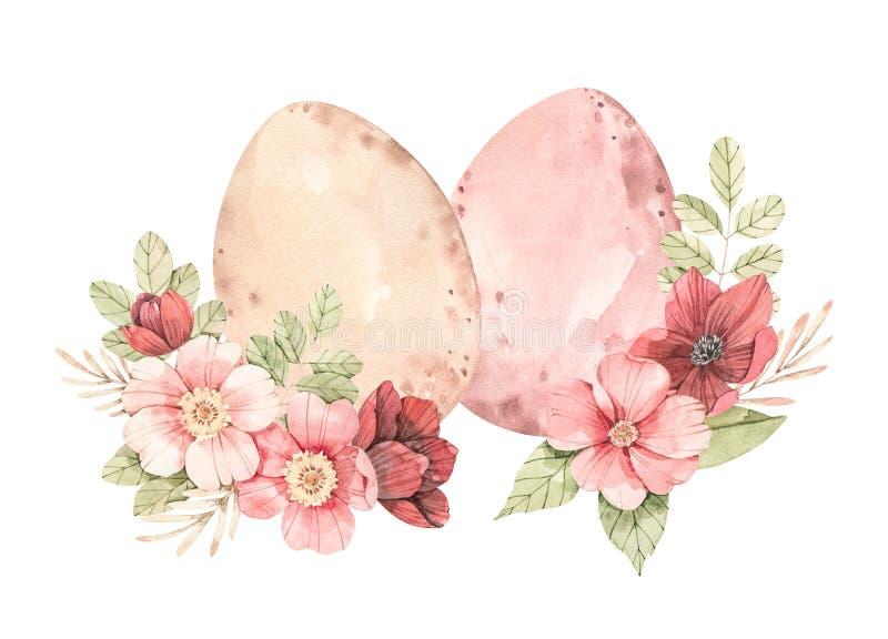Happy Easter Lenteeieren met bloesem-groene bladeren, zachte rozen, takken, knoppen Afbeelding van waterkleurflorale illustratie  stock illustratie