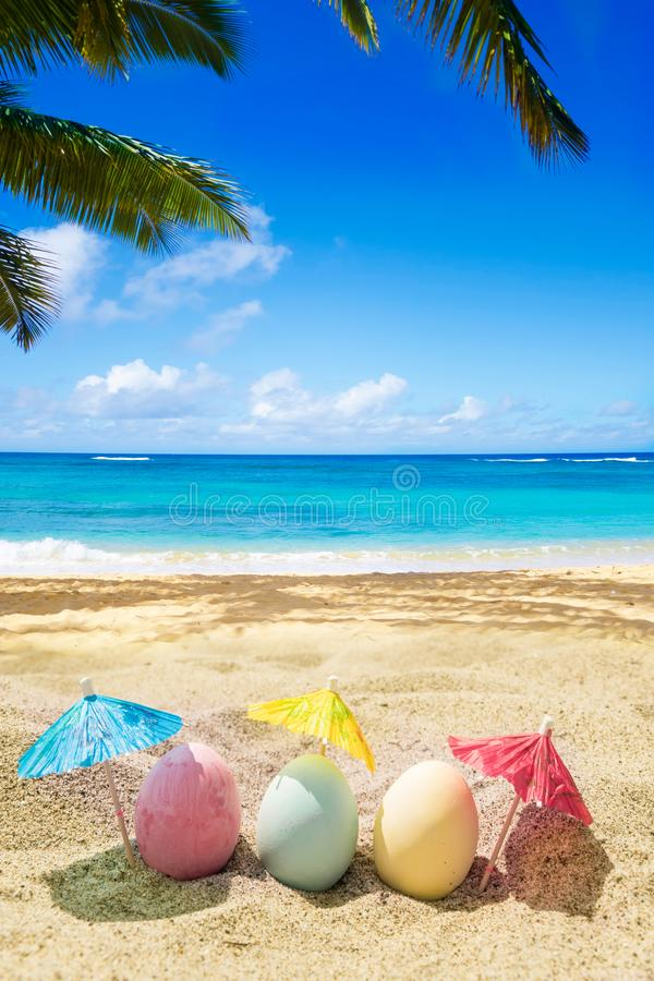 Free Happy Easter Lettering Background With Eggs On The Sandy Beach Stock Photo - 144325310