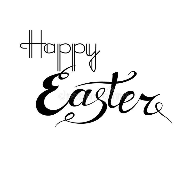 Happy Easter lettering card. Hand drawn lettering poster for Easter. Ink illustration. Isolated on white background. stock images