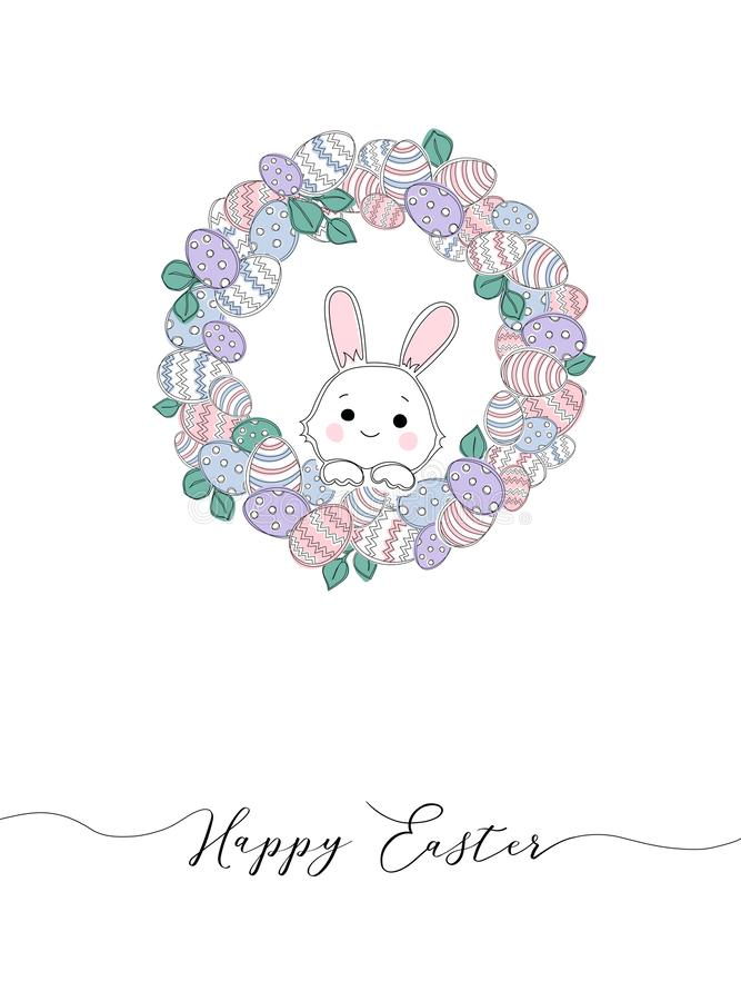 Vector Happy Easter templates with eggs, wreaths, rabbit and typographic design. stock illustration