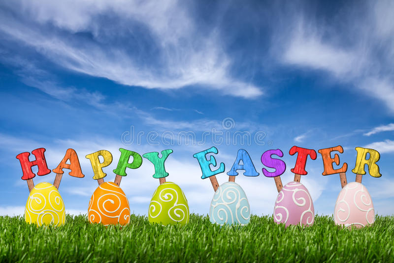 Happy easter. Lettering with easter eggs royalty free stock photography