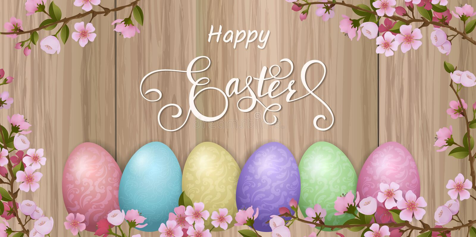 Happy Easter lettering, Gingerbread in the form of eggs. Spring holidays, Easter background. royalty free illustration