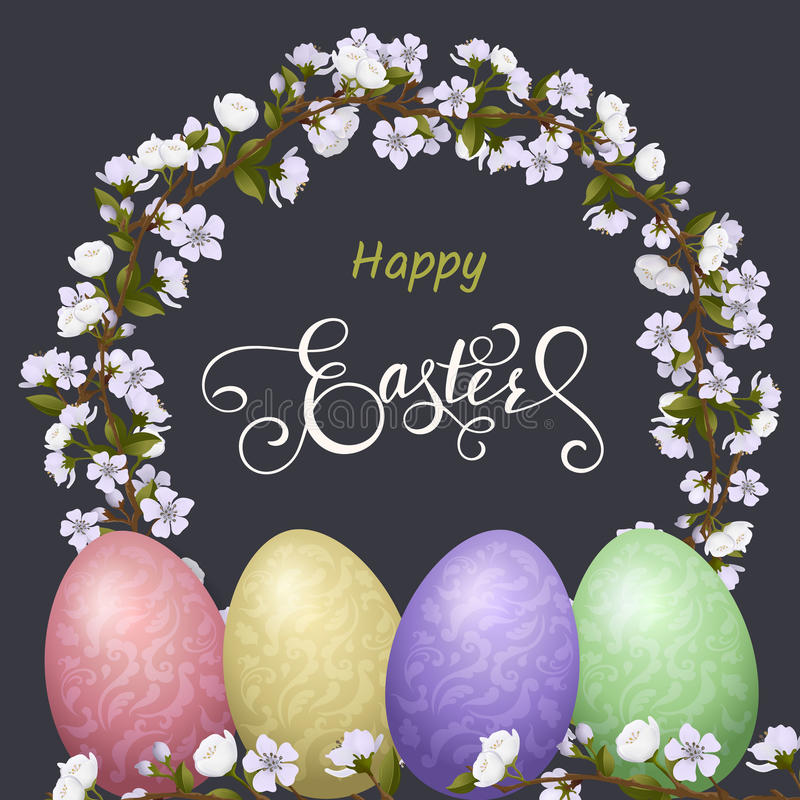 Happy Easter lettering, Gingerbread in the form of eggs. Spring holidays, Easter background stock illustration