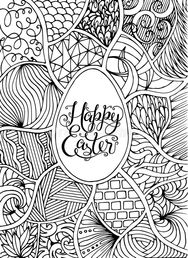 Happy Easter Lettering For Greeting Card, Doodle Style. Coloring ...