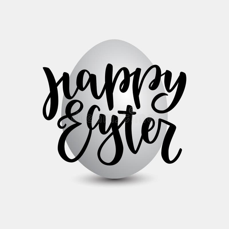 Happy Easter lettering for greeting card on grey natural egg background. Vector illustration isolated on grey background royalty free illustration