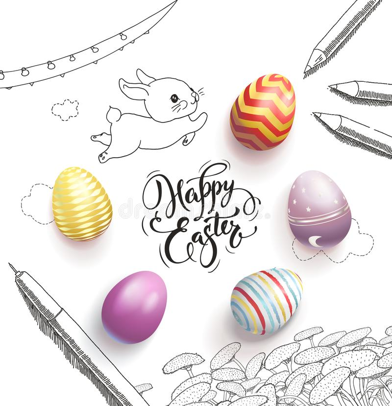 Happy Easter lettering handwritten with calligraphic font, surrounded by colorful eggs, cute baby bunny, dandelions royalty free illustration