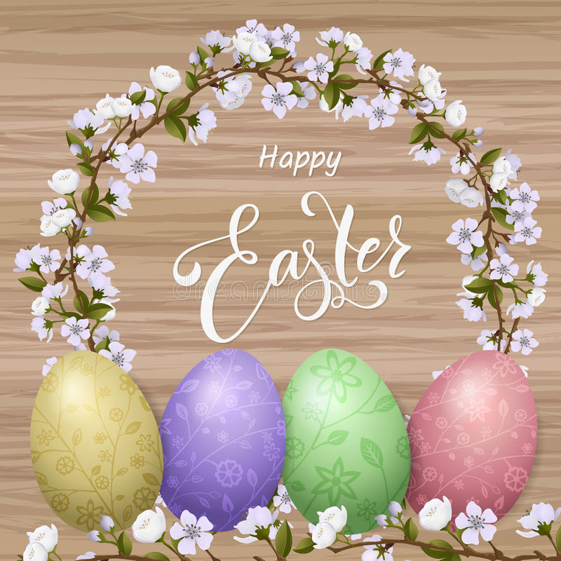 Happy Easter lettering, painted colorful eggs. Spring holidays, Easter background, blossom tree royalty free illustration