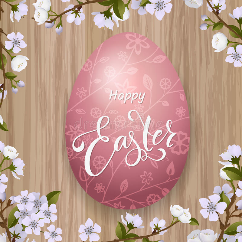 Happy Easter lettering, painted colorful eggs. Spring holidays, Easter background, blossom tree stock illustration