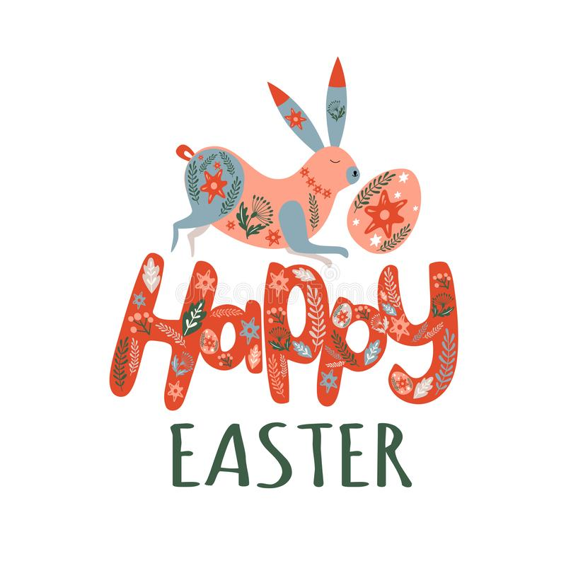 Happy easter lettering, rabbit and egg stock illustration