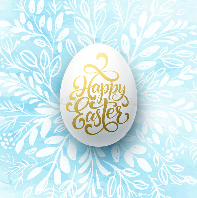 Happy Easter Lettering on the watercolor wreath with eggs hand drawn background. Vector illustration royalty free illustration