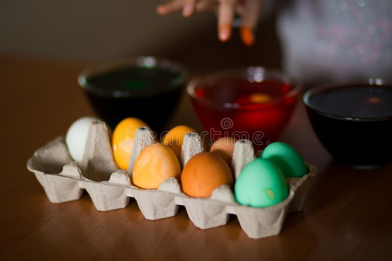 Happy easter. Little girl painter painted eggs. Kid preparing for Easter. Painted hand. Art and craft concept. Tradi. Happy easter. Little girl painter painted stock photo