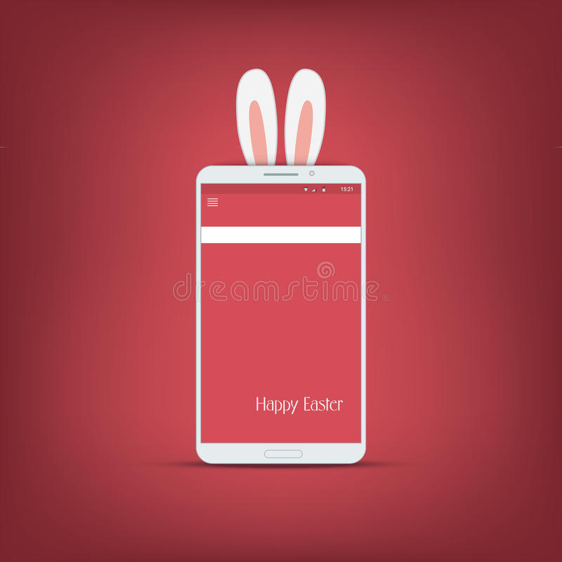 Happy easter message with smartphone. Bunny symbol vector illustration