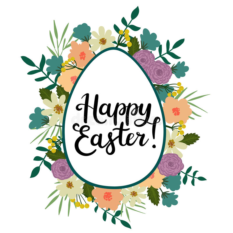 Download Happy Easter Modern Calligraphy Style Greeting Card Hand Written Text Stock Vector