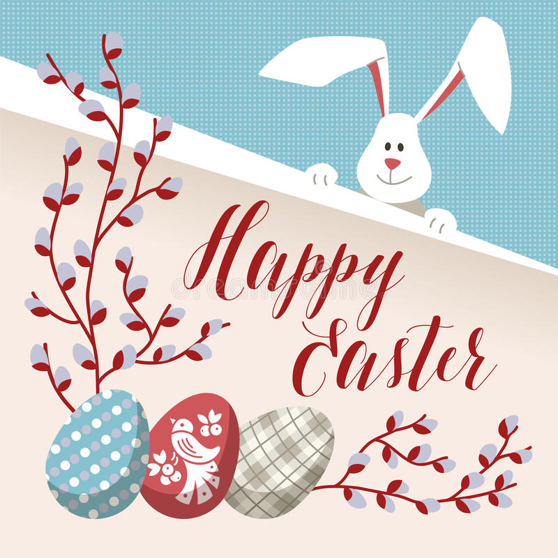 Happy easter modern vector card stock vector illustration of happy easter modern vector template card a holiday gift flyer with rabbit egg ornament rabbit egg flower grass leaf negle Images