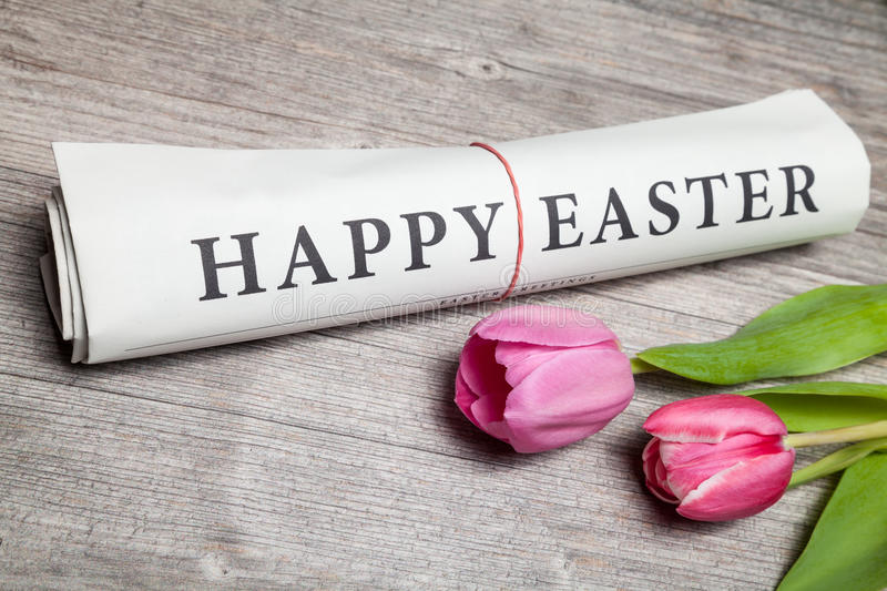 happy easter newspaper royalty free stock photos