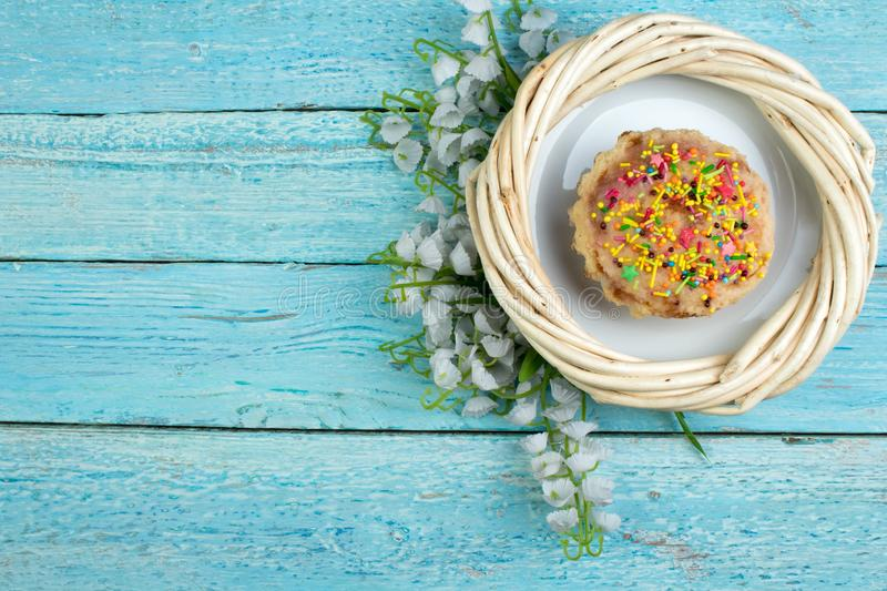 Happy Easter. Painted eggs on wooden table. Easter Cake - Russian and Ukrainian Traditional Kulich, Paska Easter Bread stock photography