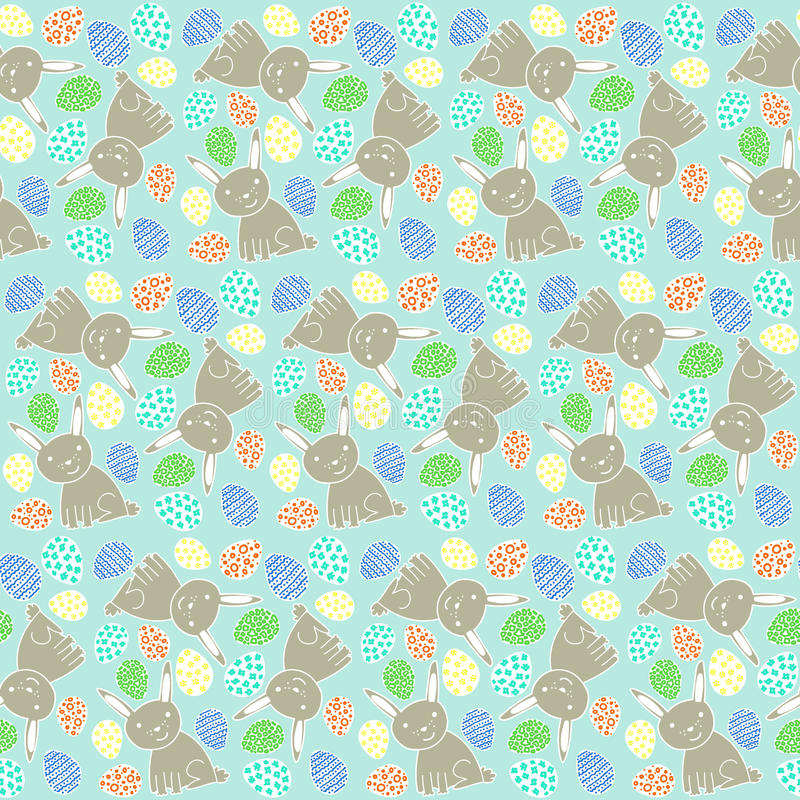 Happy Easter Pattern with Rabbits and Eggs stock illustration