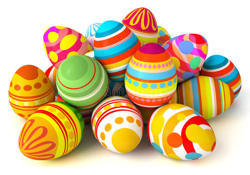 Download Happy Easter Pile Of Eggs Stock Illustration Bright