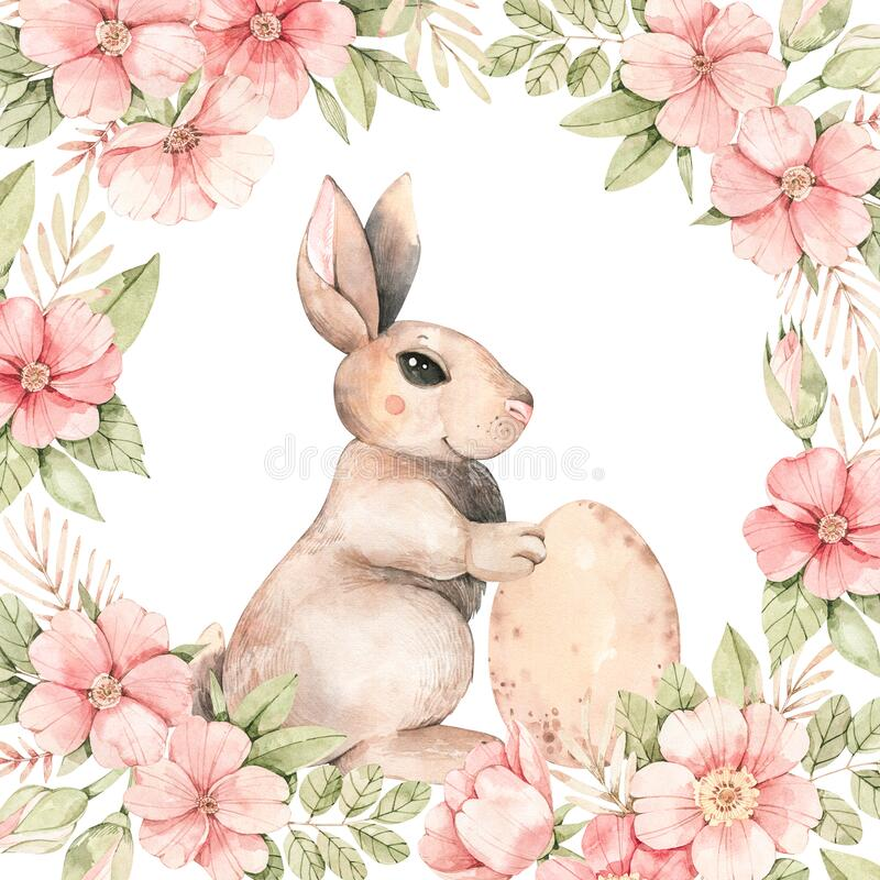 Free Happy Easter. Pink Roses Blossom And Bunny. Frame With Gentle Rose, Bud, Branches, Leaves, Rabbit, Egg. Watercolor Botanical Stock Photography - 170007972