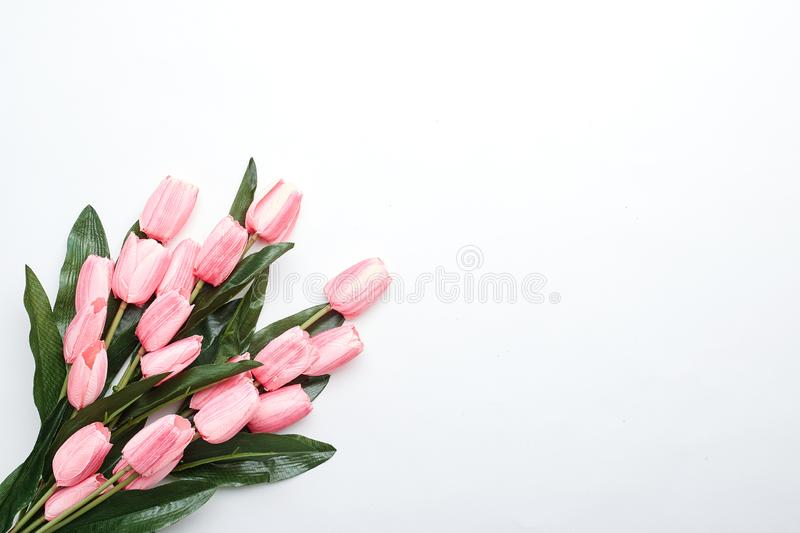 Happy Easter Pink tulips flowers stock photos