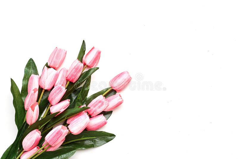 Happy Easter Pink tulips flowers stock photo