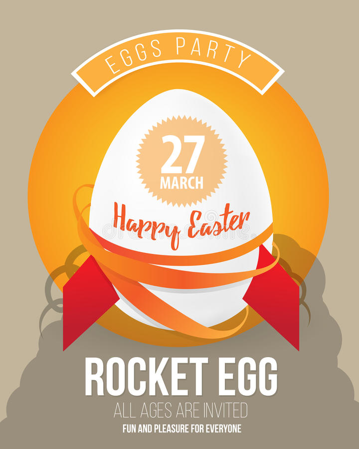 Happy Easter Pop Art Vector Illustration. with easter egg as rocket and font. royalty free illustration