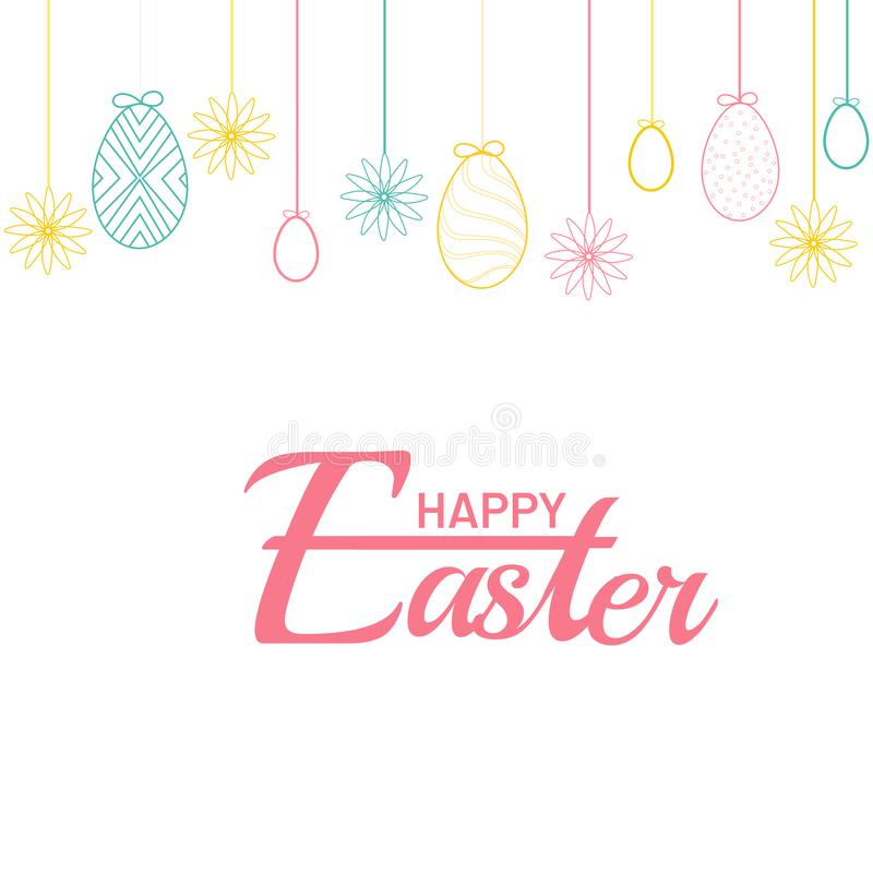 Happy Easter poster or banner design decorated with colorful easter eggs. royalty free illustration