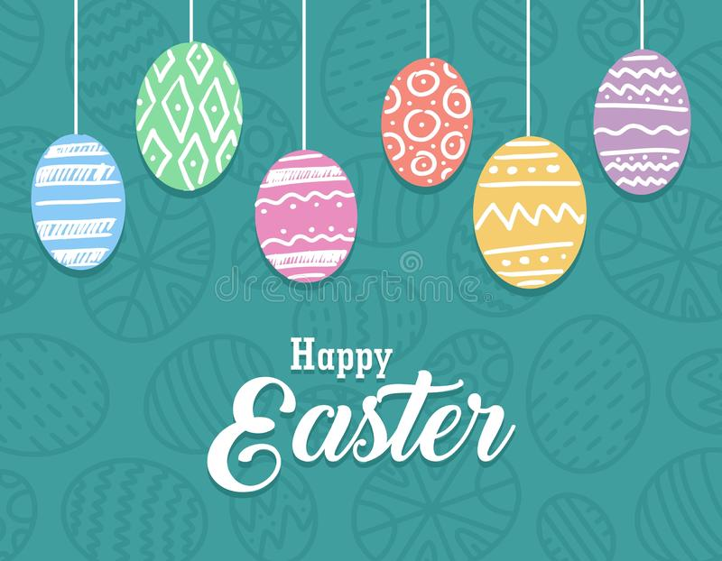 Happy Easter poster with colorful eggs and pattern green background. Vector flat celebration holiday illustration vector illustration