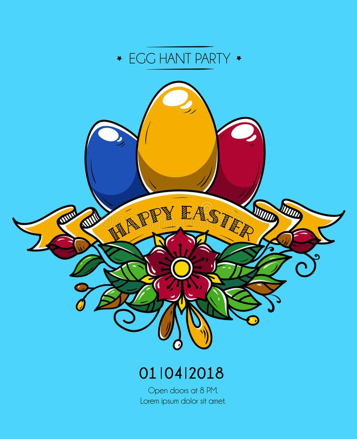 Happy Easter poster. Happy Easter invitation to party. Easter eggs decorated of ribbon and flowers. Holy feast vector illustration