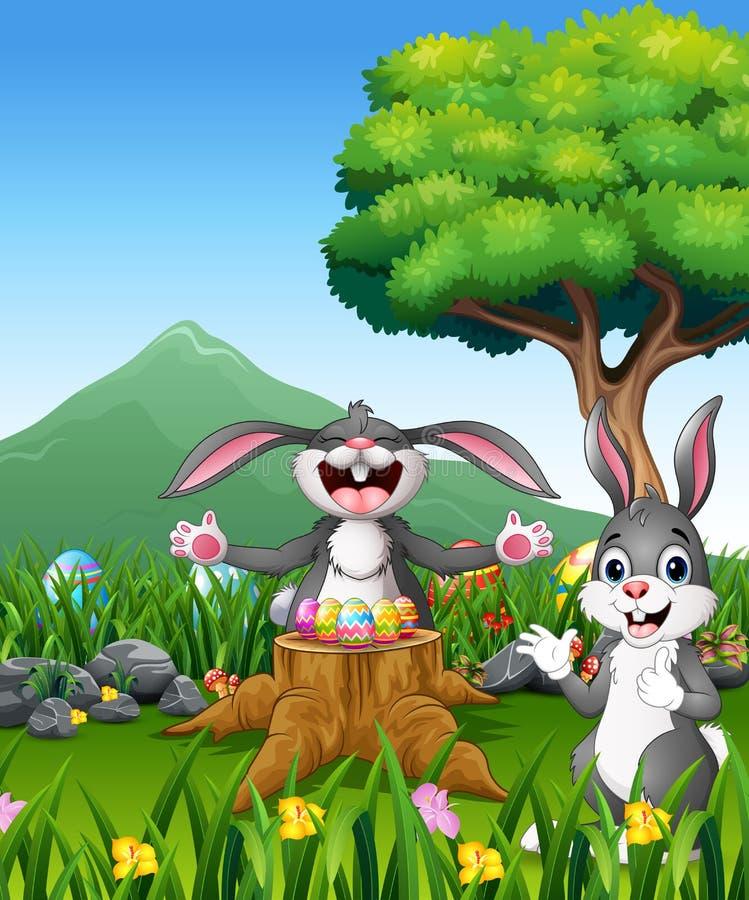 Happy easter rabbit on the beautiful garden royalty free illustration