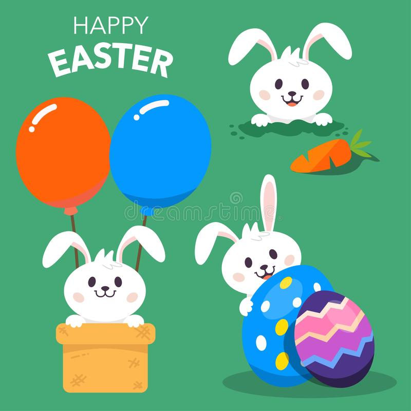 Happy Easter with Rabbit or Bunny Character stock illustration