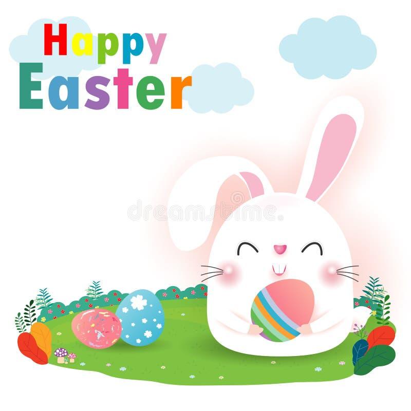 Happy Easter Rabbit Bunny greeting card on background. Easter banner template, Easter eggs Vector illustration stock illustration