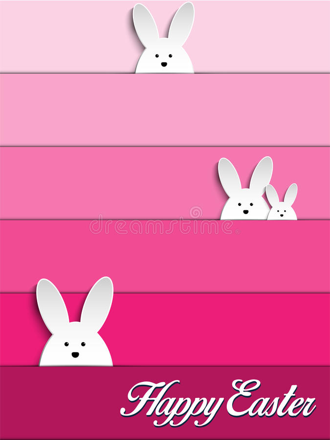 Happy Easter Rabbit Bunny on Pink Background vector illustration