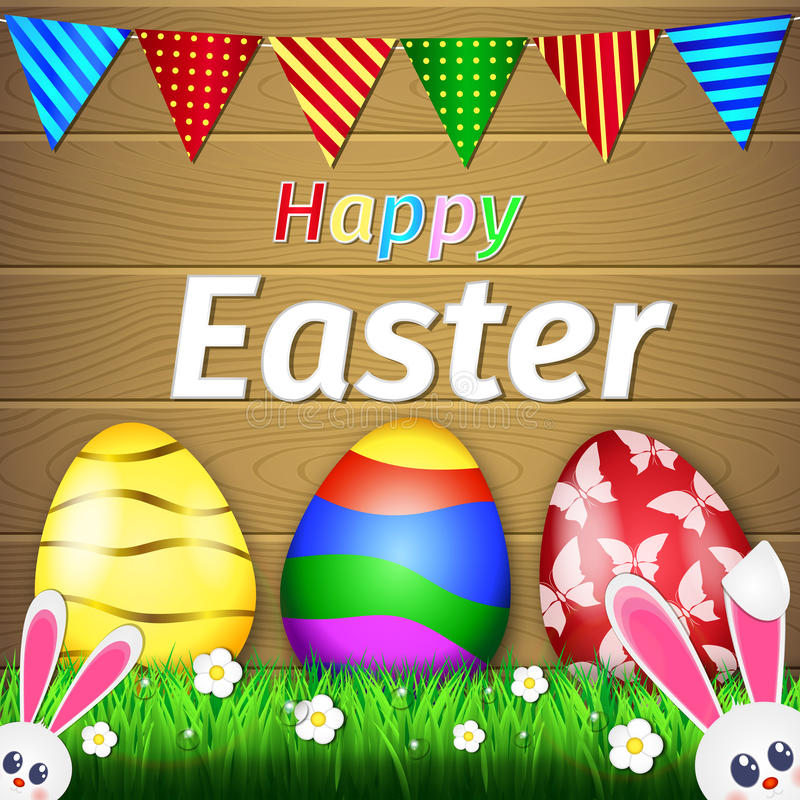 Happy Easter Rabbit And Eggs. Happy Easter Typographical Background With Rabbit And Flowers vector illustration